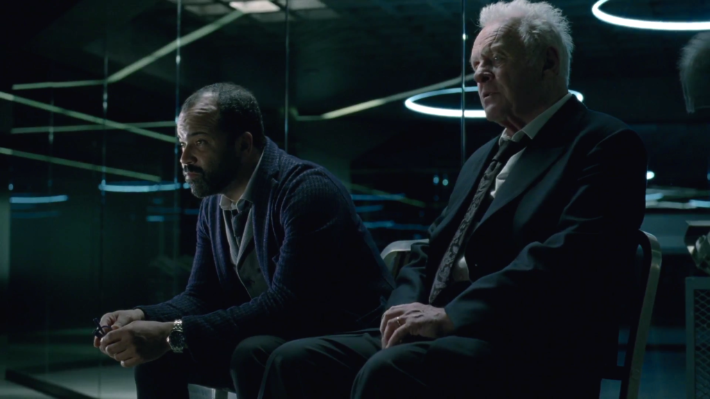 Dr. Ford, played by Anthony Hopkins, one of the host creators. (right)